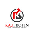 legal logo design letter kb vector image vector image