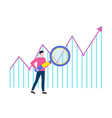 man searching with loupe rising arrow vector image