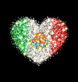mexico flag sparkling heart badge vector image