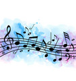 music background with notes and blue watercolor vector image vector image