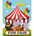 People and animals at the fun fair vector image