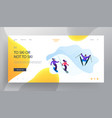 people riding downhills website landing page vector image vector image