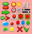 pixel art arrows buttons pilot lights pointers vector image vector image