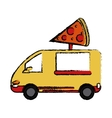 pizza delivery truck fast food sketch vector image vector image