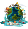 poster design with pollutions on earth vector image