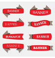 retro style red and gray ribbon banners icons set vector image