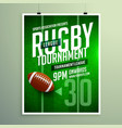 rugby league game flyer design invitation template vector image