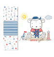 sailor bear surface design and 3 seamless patterns vector image vector image