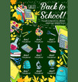 school supplies sale banner on chalkboard vector image