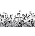 seamless border with wild flowers and butterflies vector image vector image