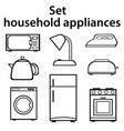 set of household appliances on a white background vector image