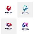 set of lions logo design concept king lions logo vector image
