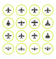 set round icons planes vector image