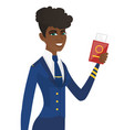 stewardess showing passport and airplane ticket vector image vector image