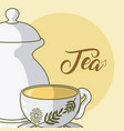 tea cup and kettle vector image