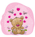 teddy bear with flowers vector image vector image