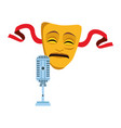 tragedy theater mask and microphone icon vector image vector image