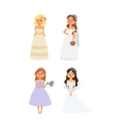 Wedding bride girl character vector image vector image