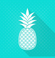 white pineapple flat icon turquoise vector image
