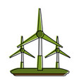 wind turbines eco friendly icon image vector image vector image