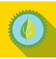 Green leaf in a gear icon flat style vector image
