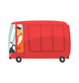 red cartoon retro cargo van commercial transport vector image