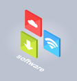 software icons with download cloud storage wi-fi vector image