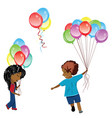 children with balloons vector image