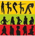 girls silhouettes set vector image