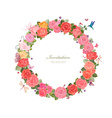 wreath of lovely roses and butterflies for your vector image