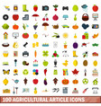 100 agricultural article icons set flat style vector image vector image