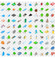 100 beautiful icons set isometric 3d style vector image vector image