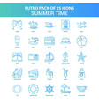 25 green and blue futuro summer time icon pack vector image vector image