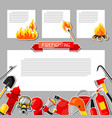 background with firefighting sticker items fire vector image vector image