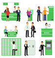 bank workers and their clients in different vector image