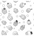 black and white cupcakes pattern vector image vector image