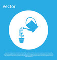 blue watering can sprays water drops above flower vector image vector image