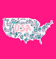 cartoon map of usa vector image vector image