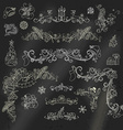 Chalk Christmas calligraphic design elements on vector image vector image