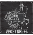 chalk still life with vegetables and oil vector image vector image