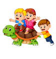 childrens riding giant turtle vector image vector image
