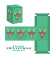 christmas cut-out goodie bag with cute reindeer vector image