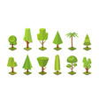 collection low poly trees various types vector image