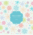 Colorful Doodle Snowflakes Frame Seamless Pattern vector image