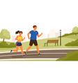 cute couple dressed in sportswear running or vector image