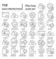 data protection thin line icon set computer vector image vector image