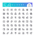 delivery line icons set vector image