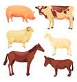 domestic or farm animals set cartoon farm beasts vector image