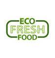 eco fresh food lettering in frame isolated logo vector image vector image