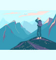 explore mountain background man vector image